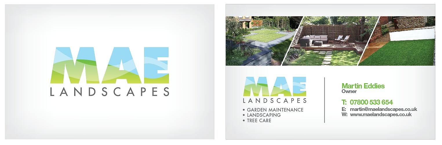 MAE Landscapes Logo and business cards